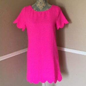 Hot Pink Shift Scallop Scoop Keyhole Short Sleeve